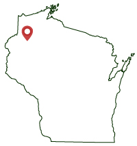 Wisconsin map, pin in northwest corner